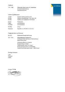 Lebenslauf: Muster für die Bewerbungsvorlage Seite 2 (Anklicken zum Vergrößern)