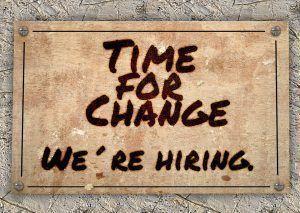 Schild Zeit zum Wechsel, Jobsuche