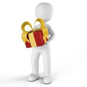 Mann mit Geschenk, Deckblatt, Deckblattes, Deckblatts, Deckblätter