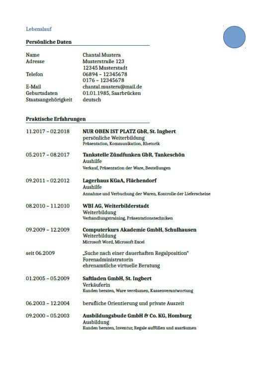 Tabellarischer Lebenslauf, Vorlagen | Beispiele | Einzelstück