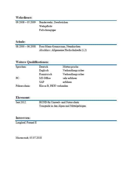 Tabellarischer Lebenslauf | Vorlage | Beispiel | Einzelstück